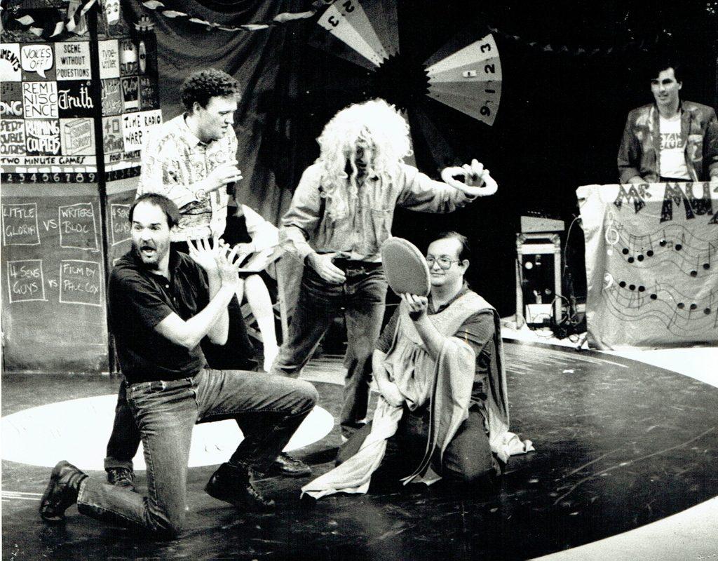 WRITER'S BLOC: David Witt, Anthony Ackroyd, Andrew Denton (under wig) and Steve Johnston, 1987 Cranston Cup Champions
