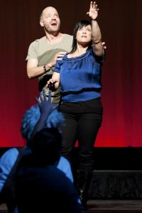 Adam Spencer and Rebecca De Unamuno honed their performance skills through Theatresports
